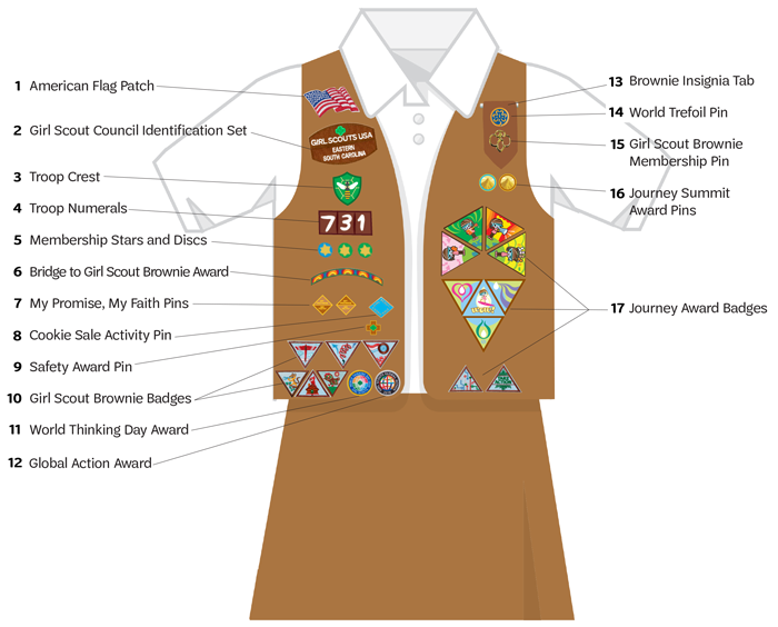 c47d0ffd8 The Brownie vest is pictured above—sashes are also available. Download the Brownie  Uniform Guide (PDF).